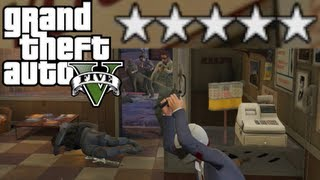 GTA V - EPIC 5 STAR SHOOTOUT! Seizure Cop? (Live Commentary)