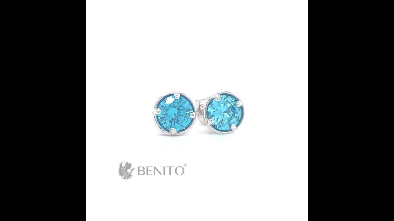 Emma Earrings Teal Zircon Stone