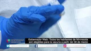 Gobernador Walz:Todos los habitantes de MN son elegibles para la vacuna a partir del 30 de Marzo