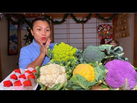 Mochi bọc dâu tây 3 vị & bông cải ngũ sắc chấm muối ớt phô mai lần đầu ăn thử #779