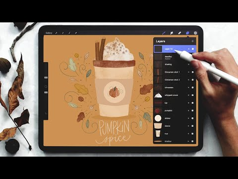 Paint a Pumpkin Spice Latte in Procreate