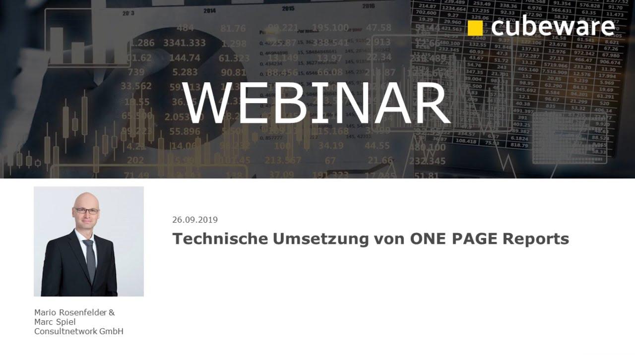 Technische Umsetzung von ONE PAGE Reports