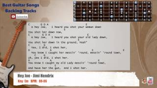 Hey Joe - Jimi Hendrix Guitar Backing Track with scale, chords and lyrics