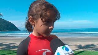 Menina de seis anos é sensação do surf em Guarujá - 31/03/2016