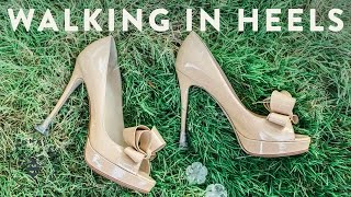 Walking In Grass Wearing Heels - Honeysuckle