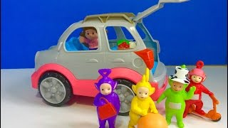 LITTLE PEOPLE Talking SUV Car and Making Smoothies with TELETUBBIES TOYS! width=