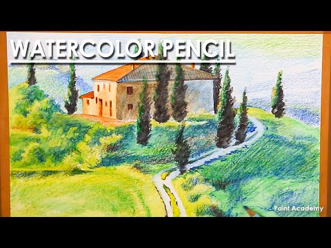 Watercolor Pencil Landscape : An Italian Tuscany Countryside Drawing
