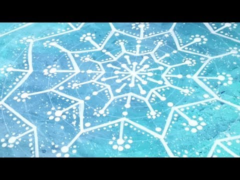 Snowflake Doodle and Dot Drawing on Painted Paper