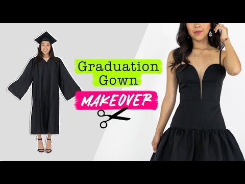 Turning a Graduation Gown into a Little Black Dress | Thrifted Transformations
