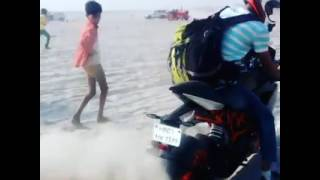 KTM rc200 burn Out in sand At River Gang Side  Gwalior Rider Sanjeet Singh Sikharwar