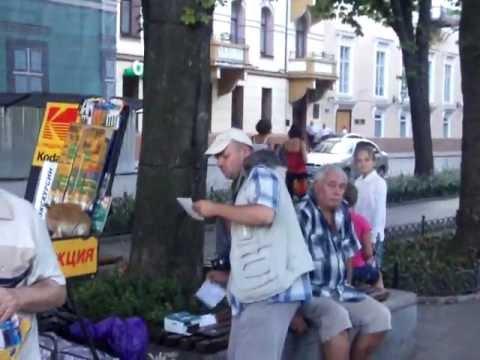 Pushkin statue in Odessa Ukraine Heather and Matthew people watching August 2011