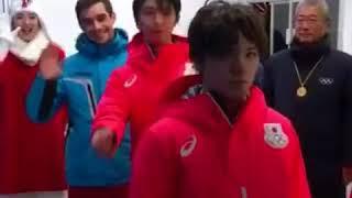 Yuzuru、Javier and Shoma in  Pyeongchang Olympic 羽生結弦、哈維爾和宇野昌磨在平昌奧運的互動小插曲