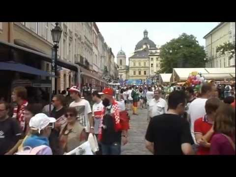 Euro 2012 football fans from Germany and Portugal in Lviv (Ukraine)