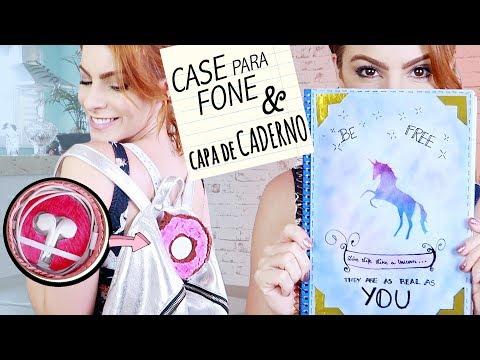 ♥ DIY Volta às Aulas!! Case pra Fone & Capa de Caderno!! ♥ Donuts & Unicórnio