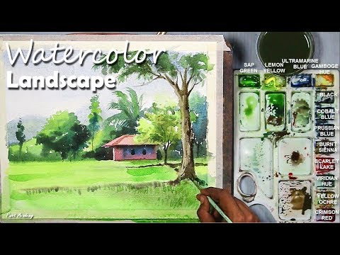 Watercolor Village Landscape step by step video