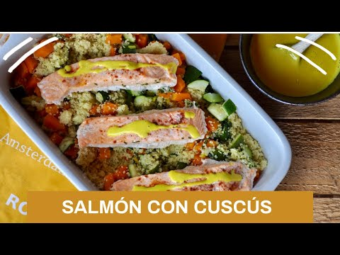 Salmo?n con cuscu?s, verduras y salsa de cu?rcuma