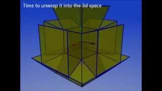 Unwrapping a tesseract (4d cube aka hypercube)