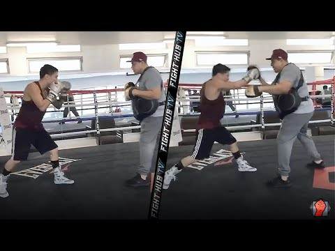 DAMN! OSCAR VALDEZ SMASHING THE PADS WITH 8 PUNCH COMBINATIONS! CONTINUES TRAINING FOR RETURN FIGHT