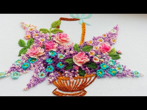 Hand Embroidery : Basket of flowers| Вышивка: Корзина с цветами