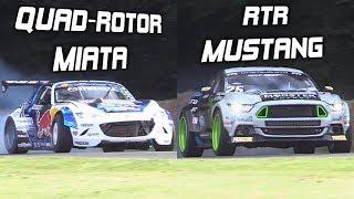 Mad Mike's Quad-Rotor Miata vs. Vaughn Gittin Jr.'s RTR Mustang! – INSANE Drift Builds