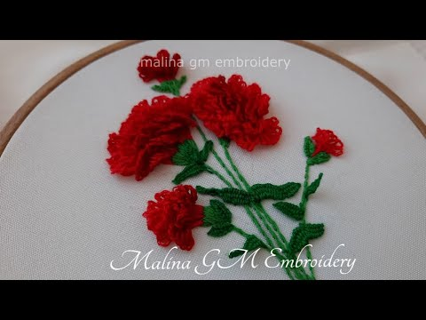 Carnation flowers | A graceful bouquet of flowers | 3D Embroidery
