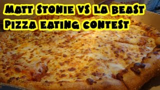 Matt Stonie vs LA Beast - Dominos Med Pizza width=