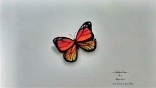 Desenho de uma borboleta em 3D - 21.06.2017