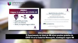 El MDH ofrece pruebas gratuitas de COVID-19 en la Ciudad de Minneapolis, manténgase seguro Minnesota