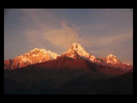 Sunset on Annapurna South and Machapuchare from Poon Hill, Nepal