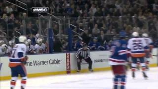 Sideline Reporter Hit in Face by Puck at Rangers-Islanders Game (2.7.13)