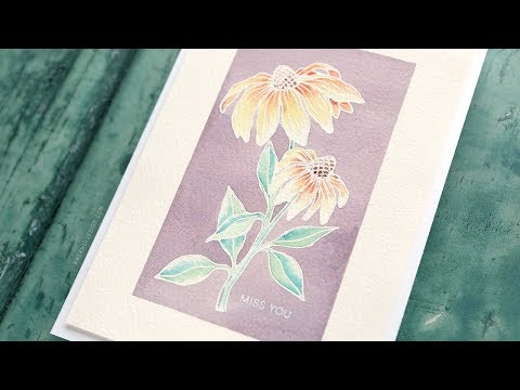 Soft Watercolor with Heat Emboss Resist