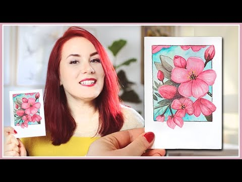 How to Paint Cherry Blossoms Inspired Flowers with Watercolors! Spring Painting Ideas