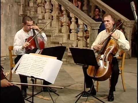 Matz's Quartet in D Minor for Four Violoncellos is another well-known piece. Jadranka Gasparovic, Neva Begovic, Kresimir Lazar,  and Valter Despalj perform this piece in a performance that was recorded at the Dubrovnik Summer Festival in August 2000.
