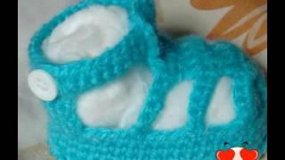 Sandália de crochê azul