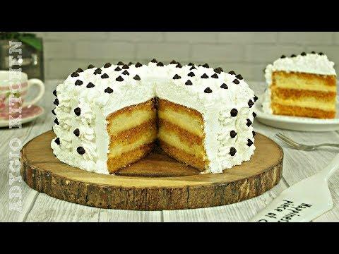 Tort cu crema de vanilie si sirop de caramel