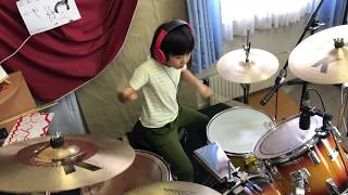 "Led Zeppelin『Good Times Bad Times』 を8歳小2女子ドラマー""よよか""が叩いてみた  8years old drummer ""Yoyoka"""
