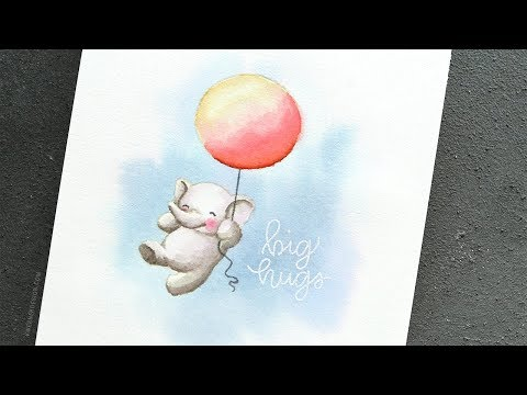 No-Line Watercoloring with Mama Elephant Stamps