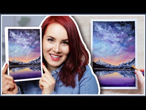 How to Paint a Galaxy Sky Sunset & Mountain Lake Scenery with Acrylic Paint