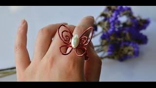Wire Jewelry DIY - How to Make a Handmade Wire Wrapped Butterfly Ring + Tutorial .