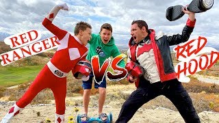 Red Power Ranger VS The Red Hood! Hoverboard Challenge