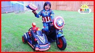 Avengers Superhero Captain America Motorcycle Power Wheels Ride On Car! width=