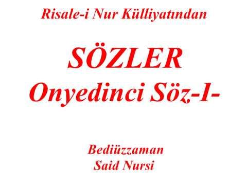 "Onyedinci Söz -I- ""Sözler"" ""Risale-i Nur Külliyatından"" ""Bediüzzaman Said Nursi"""