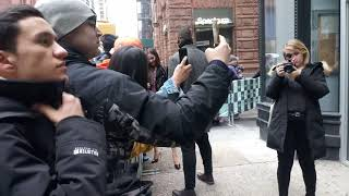 Miss Universe, Catriona Gray, taking pictures and signing for fans at AOL Build.