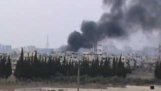 حمص السلطانية احتراق المنازل جراء القصف بالبراميل 13-10