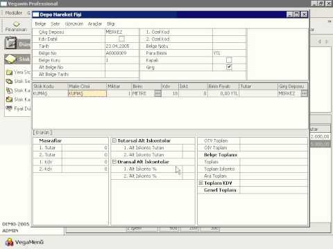 Vega Yazılım - Depolar Arası Stok Hareketi Yapma