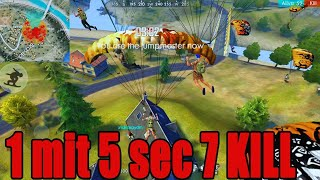 1mit 5 sec 7 kill Record in Free fire|| Free fire Rush Gameplay||Run Gaming Tamil
