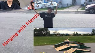 Skating and hanging with friends