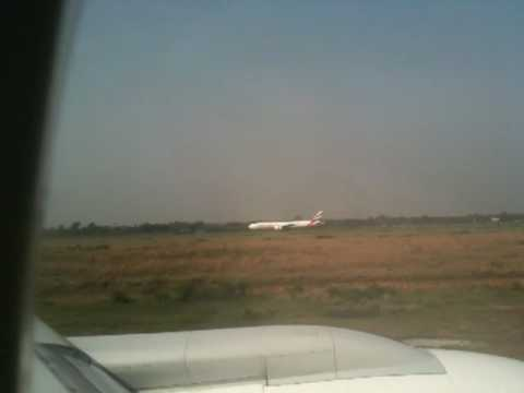 Biman Bangladesh Airlines Boeing 777 taking off from Dhaka