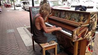 Homeless Man, Donald Gould, Plays Come Sail Away on Piano in Sarasota, FL