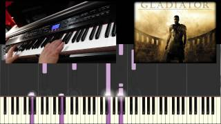 Leçon piano - Gladiator 'Now we are free' - Audio + Live  Synthesia (TEST)